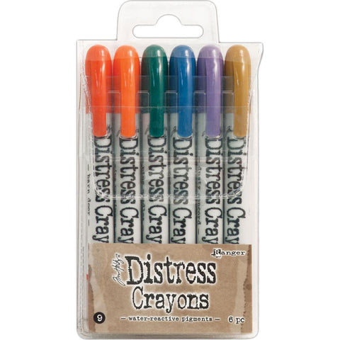 Tim Holtz Distress Crayons, set 9 - Barn Door, Ripe Persimmon, Pine Needles, Faded Jeans, Dusty Concord and Brushed Courduroy