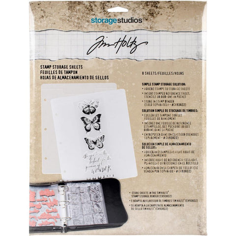 Stamp Storage Sheets - Tim Holtz ... 8 (eight) clear pockets for storing clear and rubber stamps