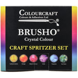 box for Brusho Crystal Colour - Watercolour Powders - 6 Colours with Spritzer Bottle