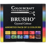 view of the box 12 assorted Colourcraft Brusho Crystal Colours