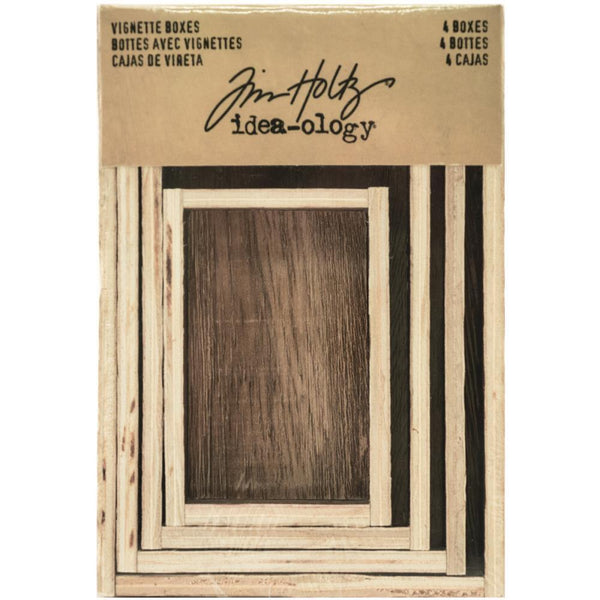 Tim Holtz Idea-Ology - Wooden Vignette Boxes - 4 Pieces
