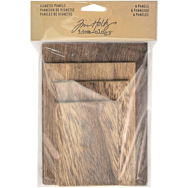 Tim Holtz Idea-Ology - Wooden Vignette Panels - 4 Pieces