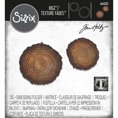 Tim Holtz Tree Rings Bigz Steel Rule Die plus Texture Fades Embossing Folder by Sizzix id 664232