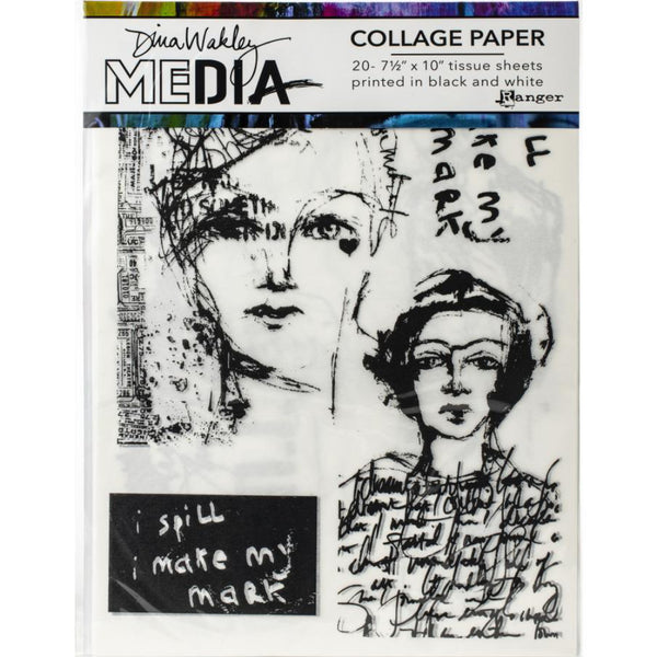 Vintage and Sketches - Dina Wakley Media Collage Paper with Printed portraits at Art by Jenny