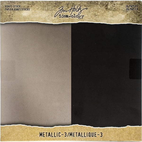 "Metallic Kraft Stock : Black and Champagne - 8""x8"" ... Idea-Ology Paper by Tim Holtz"