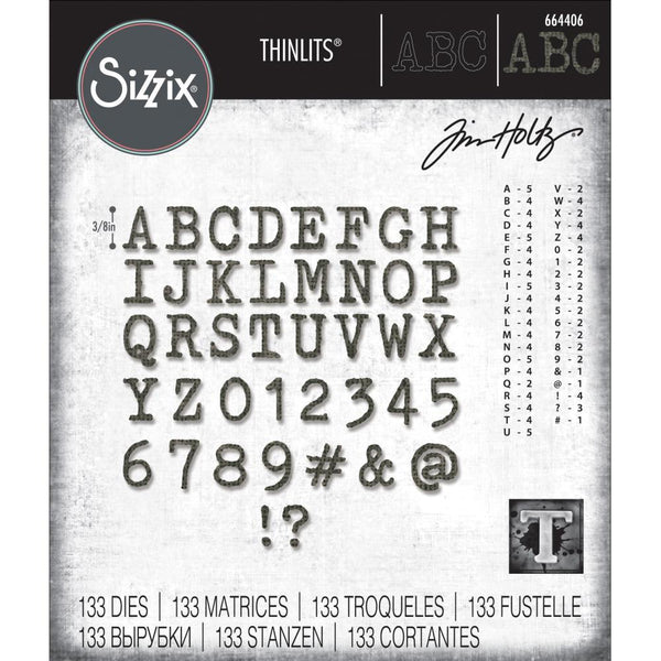 Tim Holtz Thinlits Die Cutting Set by Sizzix - Alphanumeric Tiny Type Upper