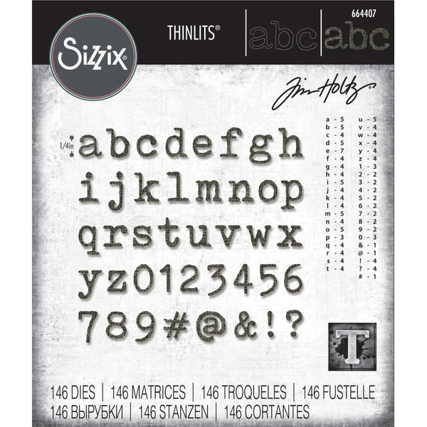 Tim Holtz Thinlits Die Cutting Set by Sizzix - Alphanumeric Tiny Type Lower