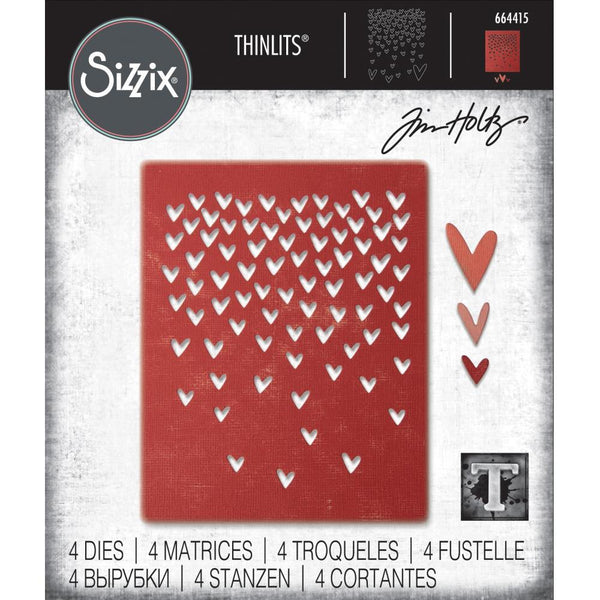 Tim Holtz Thinlits Die Cutting Set by Sizzix - Falling Hearts 664415