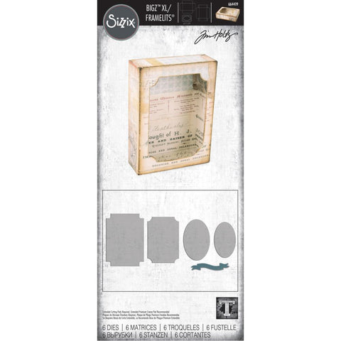 Curio Box Set Bigz Die with Framelits - by Tim Holtz. Die Cutting Templates by Sizzix (no.664419) to use to create boxes, frames and other useful items