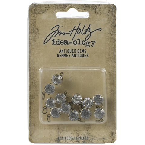Tim Holtz Idea-Ology - Adornments - Antiqued Gems - 12 Pieces - NEW!