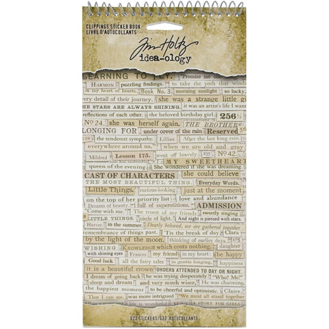 Tim Holtz Idea-Ology - Spiral Bound Sticker Book - Clippings - NEW!