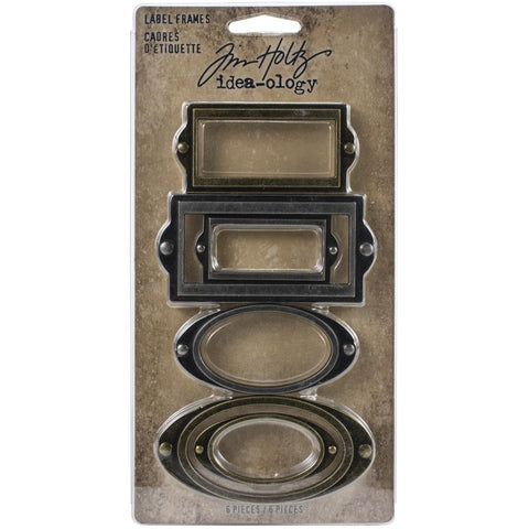 Tim Holtz Idea-Ology - Metal Adornments - Label Frames - 6 Pieces