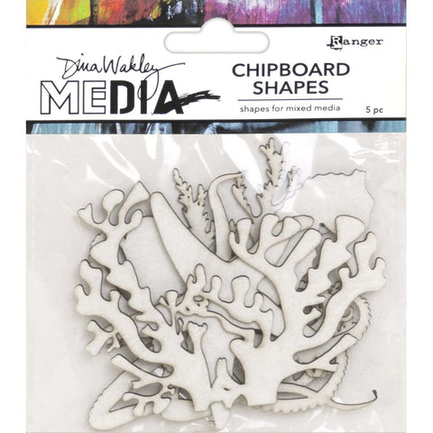 Dina Wakley Media - Chipboard Shapes - Ocean - 5 Pieces