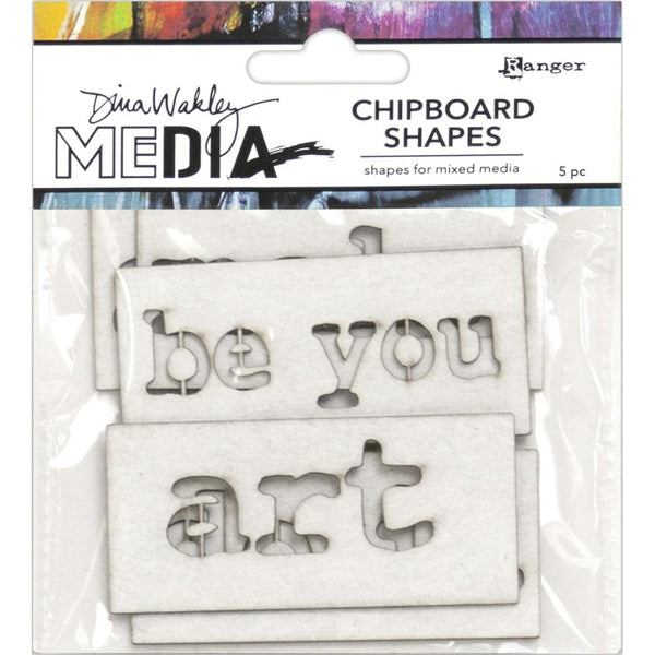 Dina Wakley Media - Chipboard Shapes - Words - 5 Pieces
