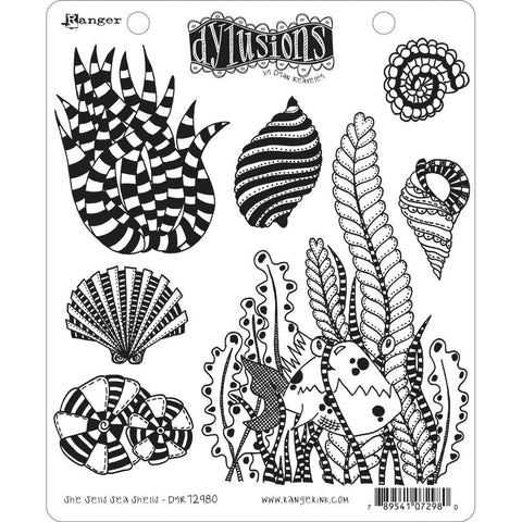She Sells Sea Shells ... rubber stamp set from Dylusions by Dyan Reaveley