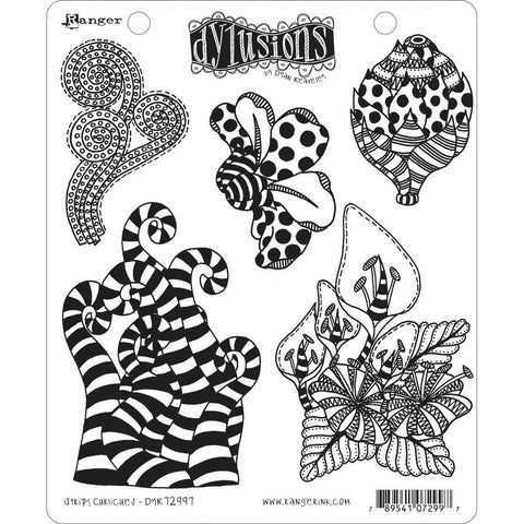 Stripy Curlicues rubber stamp set from Dylusions by Dyan Reaveley