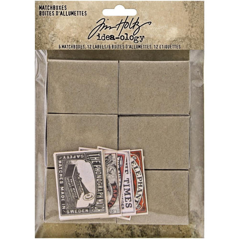 Tim Holtz Idea-Ology - Matchboxes - 6 Boxes and 12 Labels