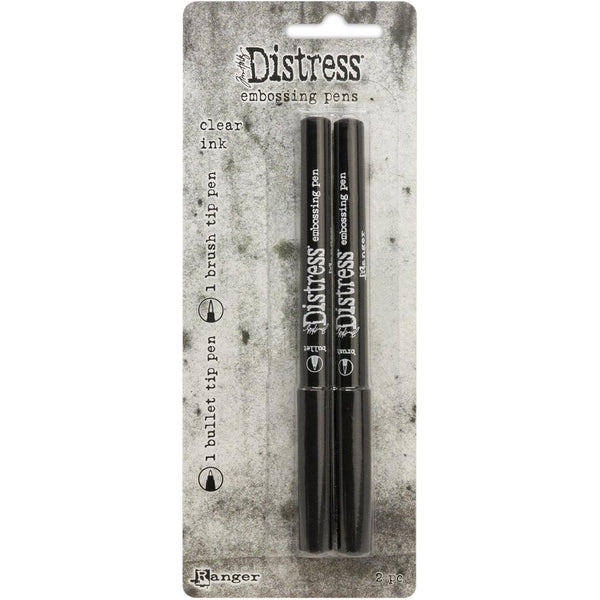 Tim Holtz's Distress Embossing Pens, 2 (two) Bullet Tip and Brush Tip Markers with Clear Ink - by Ranger
