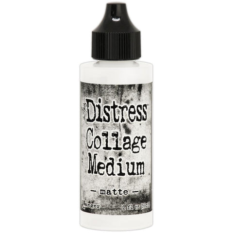 Clear Matte Medium - Tim Holtz Distress Collage Medium, 2fl oz (59ml) bottle with fine tip. Made by Ranger.