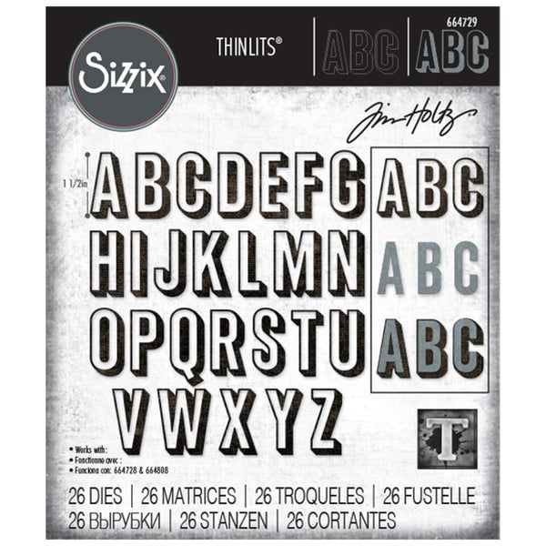 Tim Holtz Thinlits Die Cutting Set by Sizzix - Alphanumeric Shadow Uppercase