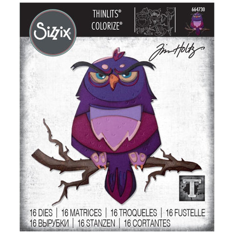 Tim Holtz Thinlits Colorize Dies by Sizzix - Arthur the Owl - NEW!