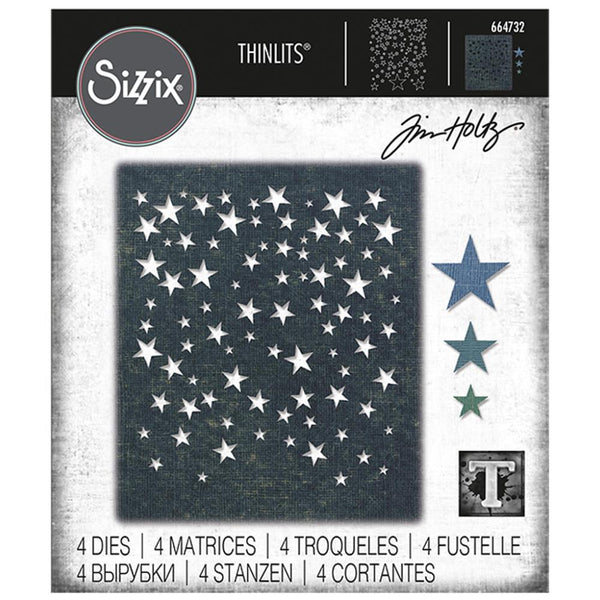 Tim Holtz Thinlits Die Cutting Set by Sizzix Falling Stars Background Design with Layers