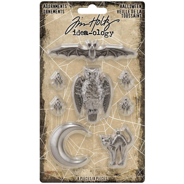 Tim Holtz Idea-Ology Halloween 2020 - Metal Adornments Bat Owl Cat Crescent Moon and spiders