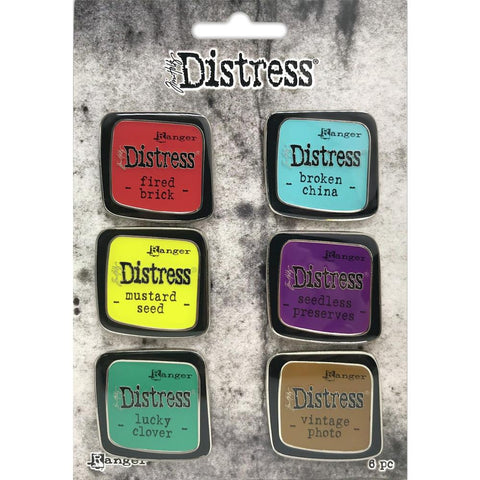 Tim Holtz Distress Enamel Pins - Set 2 - Pack of 6 - NEW!