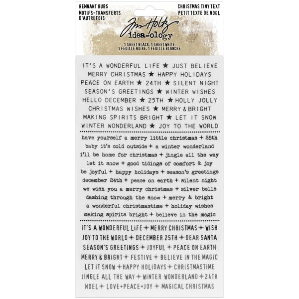 Tim Holtz Idea-Ology Christmas 2020 - Remnant Rubs Rubons - 2 Transfer Sheets