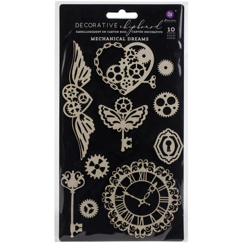 Prima Marketing Chipboard steampunk mechanical wings, keys and hearts embellishment for visual arts at Art by Jenny