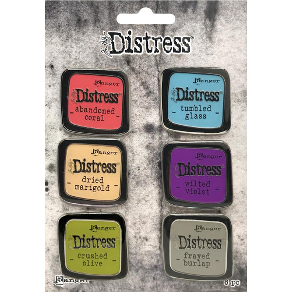 Ranger's Tim Holtz Distress Enamel Pins set number 3 showing 6 colours included in the set