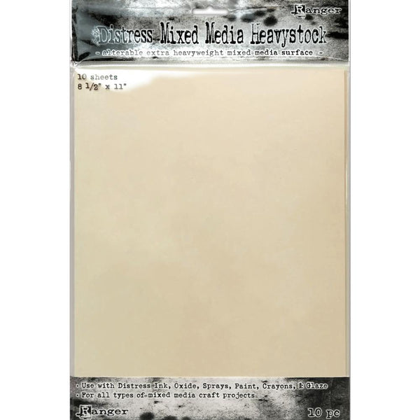Tim Holtz Distress Heavystock Paper - Mixed Media - 8.5x11 - 10 Sheets - NEW!