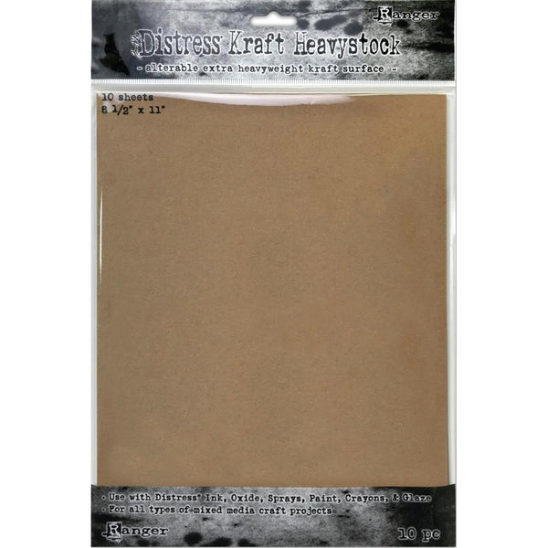 Tim Holtz Distress Heavystock Paper - Kraft - 8.5x11 - 10 Sheets - NEW!