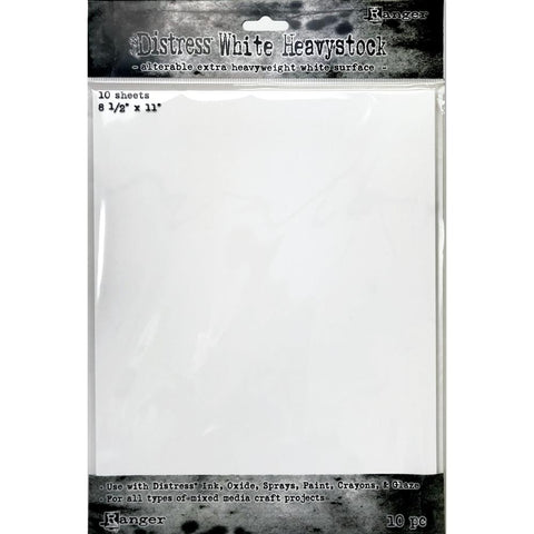 Tim Holtz Distress Heavystock Paper - White - 8.5x11 - 10 Sheets - NEW!