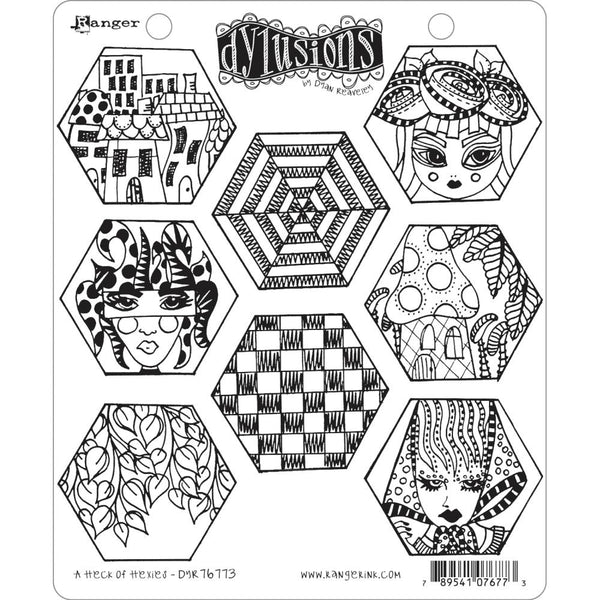 Dylusions Cling Rubber Stamps - A Heck of Hexies - PreOrder Dec or Jan
