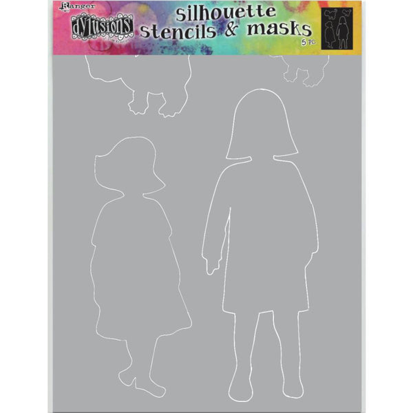 Dylusions Stencil - Large 9x12 - Edith - Silhouettes with Masks - NEW!