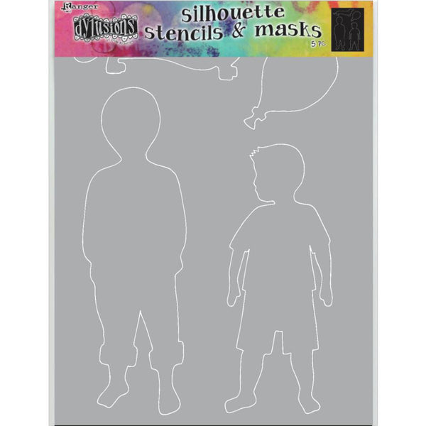 Dylusions Stencil - Large 9x12 - Otis - Silhouettes with Masks - NEW!