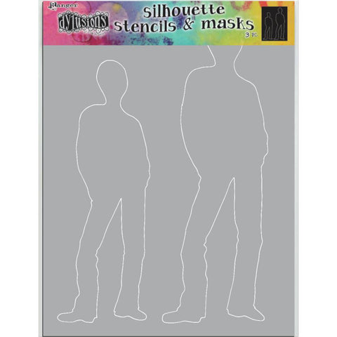 Dylusions Stencil - Large 9x12 - Tom - Silhouettes with Masks - NEW!