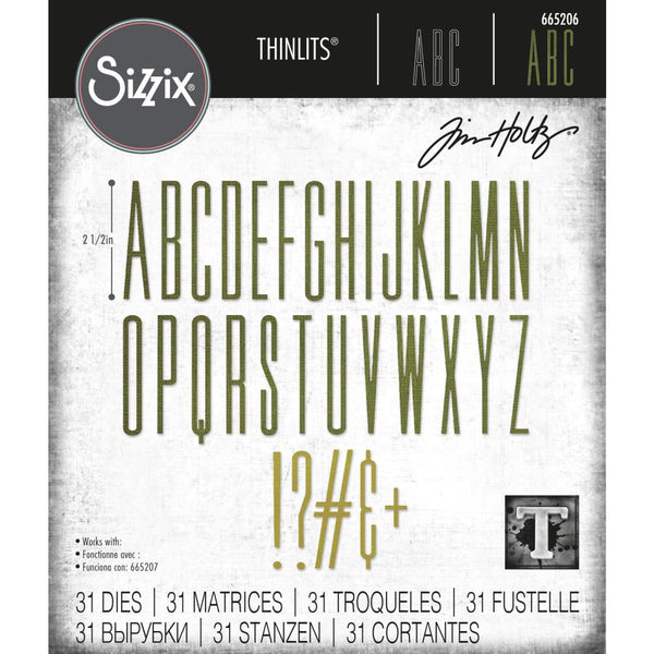 Tim Holtz Thinlits Die Cutting Set by Sizzix - Alphanumeric Stretch Upper