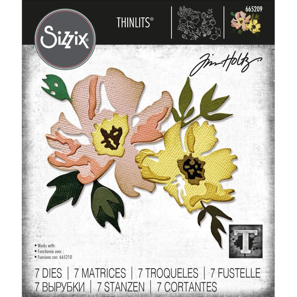 Tim Holtz Thinlits Die Cutting Set by Sizzix - Brushstroke Flowers 1 - NEW!