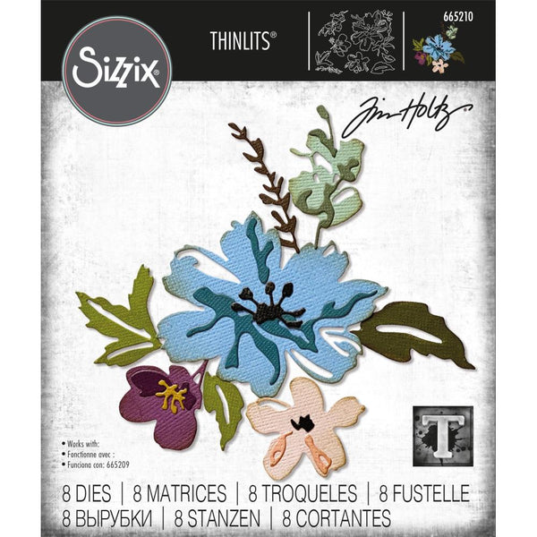 Tim Holtz Thinlits Die Cutting Set by Sizzix - Brushstroke Flowers 2 - NEW!