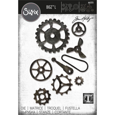 Mechanical ... Bigz Steel L Die Cutting Template by Tim Holtz and Sizzix (no.665225). Steampunk gears and cogs