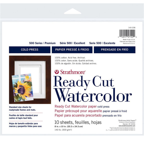 Strathmore Art Paper Watercolour - Series 500 Cold Press - Ready Cut 8x10 - 10 Sheets