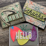 retro groovy samples using Atomic Elements ... Thinlits Die Cutting Templates by Tim Holtz