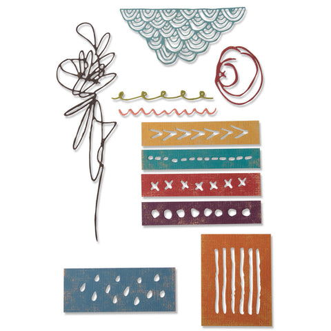 Tim Holtz Thinlits Die Cutting Set by Sizzix - Media Marks - NEW!