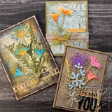 samples by Tim Holtz Design Team using Wildflowers Thinlits set 2