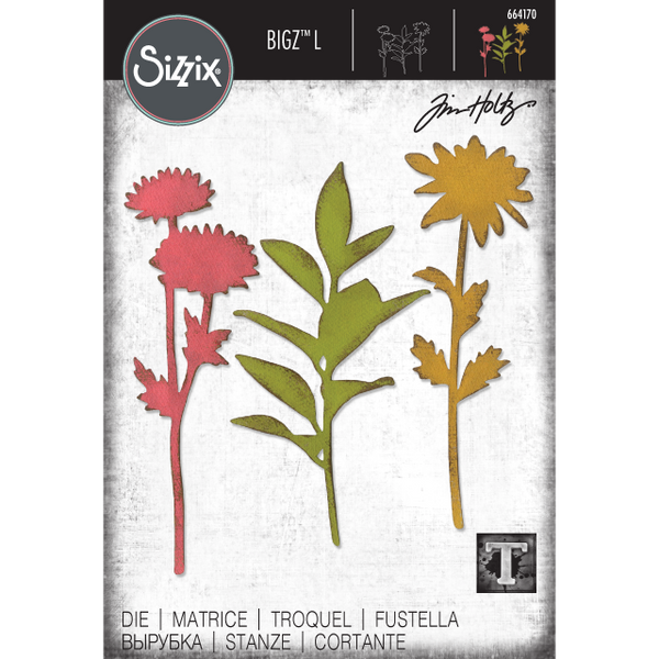 Large Stems Silhouette of Flowers ... Sizzix Bigz Die Cutting Template by Tim Holtz