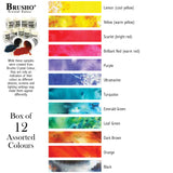 12 assorted colours of the Colourcraft Brusho Crystal Colour Watercolour Powders