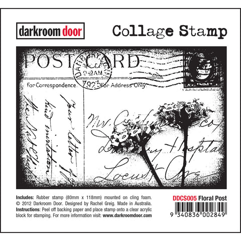 "Darkroom Door cling rubber ""Collage Stamp"" called Floral Post, available at ""Art by Jenny"""
