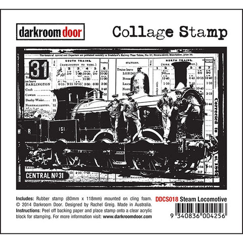 Collage Stamp - Steam Locomotive - Darkroom Door